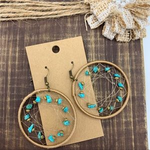 NWT Dream Catcher Boho Copper Turq Hoop Earrings